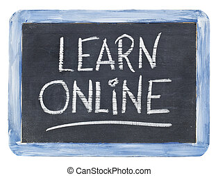 aprender, en línea, pizarra, señal