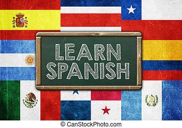 aprender, español, -, vendimia, plano de fondo, concepto