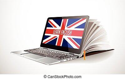 aprender, inglês, conceito, -, laptop, e, livro, compilação, -, elearning, língua