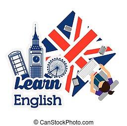 aprender, inglês, desenho