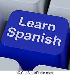 aprender, língua, estudar, online, tecla, espanhol, mostra