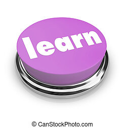 aprender, -, púrpura, botón