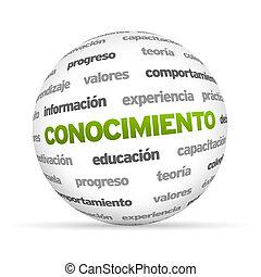 aprender, palabra, esfera, (in, spanish)