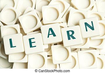 aprender, palavra, feito, por, leter, pedaços