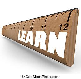 aprender, palavra, ligado, régua, medida, educação,...