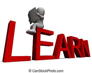 aprender, palavra, mostra, educação, ou, estudo