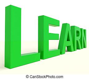 aprender, palavra, para, educação, ou, aprendizagem online