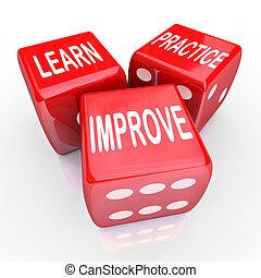 aprender, prática, melhorar, palavras, 3, vermelho, dados