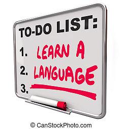 aprender, un, idioma, para hacer la lista, extranjero,...