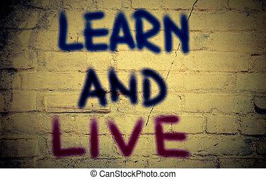 aprender, y, vivo, concepto