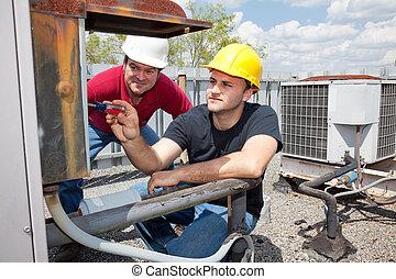 aprendiz, reparador, condicionamiento, aire
