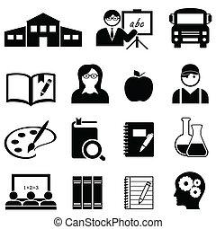 aprendizagem, escola, e, educação, ícones