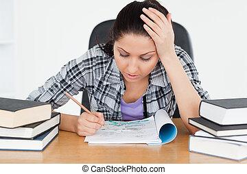 aprendizagem, estudante, cansadas, jovem
