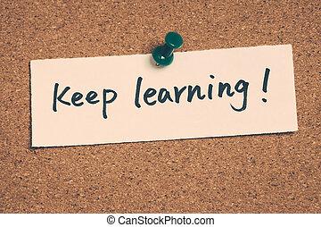 aprendizagem, mantenha