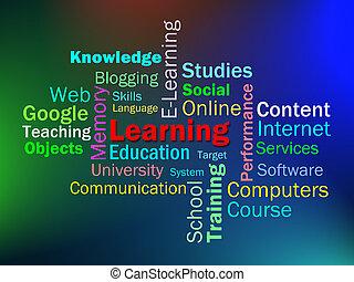 aprendizagem, palavra, mostra, aprender, educação, ou, estudar