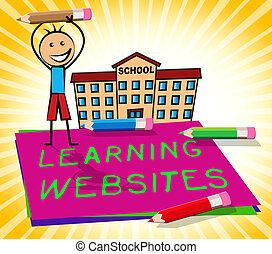aprendizagem, site web, mostra, educação, locais, 3d, ilustração
