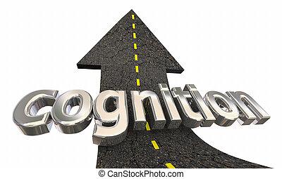 aprendizagem, sucesso, cognição, cima, ilustração, seta, educação, estrada, 3d