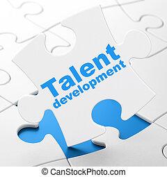 aprendizaje, concept:, talento, desarrollo, en, rompecabezas, plano de fondo
