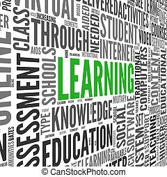 aprendizaje, concepto, en, palabra, etiqueta, nube