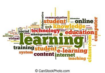 aprendizaje, concepto, en, palabra, nube