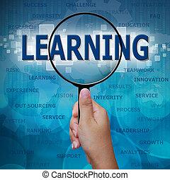 aprendizaje, en, lupa, en, fondo azul