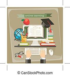 aprendizaje, ilustración, en línea