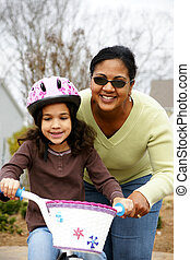 aprendizaje, para montar, un, bicicleta