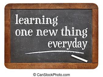 aprendizaje, uno, nuevo, cosa, diario