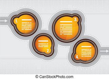 apresentação, carta fluxo, com, bolhas