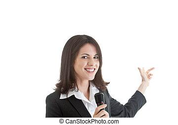 apresentação, dar, mulher, a., isolado, apontar, experiência., atrás de, comércio, microfone, mostrar, segurando, ser, could, branca, demonstrar, ou, booth., ela
