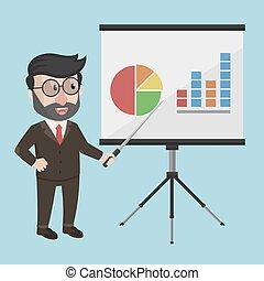 apresentação, homem negócio