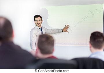apresentação incorporada, negócio, meeting.