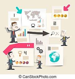 apresentação, infographics, -, gráficos, com, homens negócios, e, papeis, com, mapa mundial, e, globo, ícones