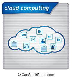 apresentação, -, modelo, nuvem, computando