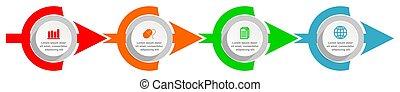 apresentação, negócio teia, 4, opções, infographic, vetorial, diagrama, modelo, timeline