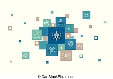 apresentação, workflow, passos, risco, ícones, design., ...