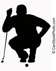 apresto, golfista, silueta, -, arriba, puesto, deporte