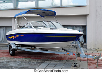 apresure barco, en, remolque, listo, para, transporte