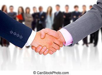 apretón de manos, aislado, en, empresa / negocio, plano de...