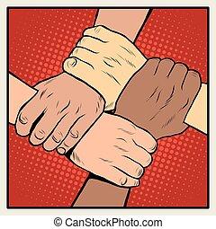 apretón de manos, carreras, diferente, nacionalidades, gente