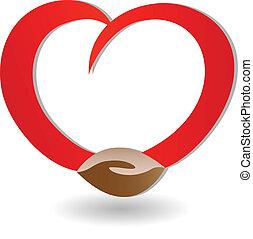 apretón de manos, con, amor, logotipo