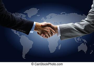 apretón de manos, con, mapa, de, el mundo, en, plano de...