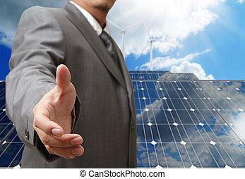 apretón de manos, concepto, empresa / negocio, ofertas, verde, hombre