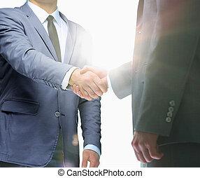 apretón de manos, concepto, empresarios, corporativo, discusión, reunión