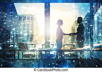 apretón de manos, concepto, red, oficina, effect., sociedad,...