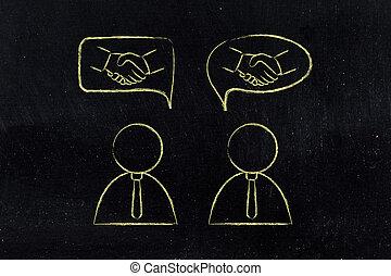apretón de manos, deals:, y, hombres de negocios, cómico, ...