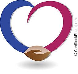 apretón de manos, empresa / negocio, con, amor, logotipo