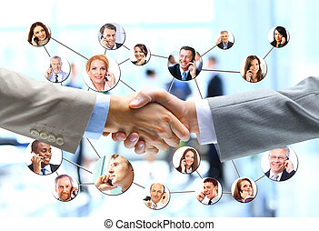 apretón de manos, empresarios, compañía, plano de fondo,...