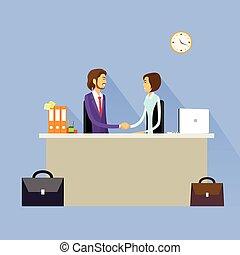 apretón de manos, empresarios, mujer de negocios, acuerdo, ...