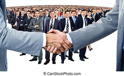 apretón de manos, equipo negocio